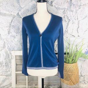 Rani Arabella Blue Button Cardigan Cotton Medium
